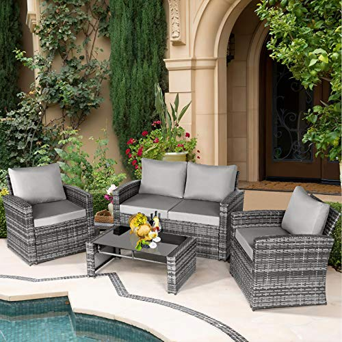 Aoxun 4 Piece Rattan Patio Furniture Set with Cushions, All-Weather Wicker Seating Group, Outdoor Sectional Sofa with Coffee Table, Grey Wicker