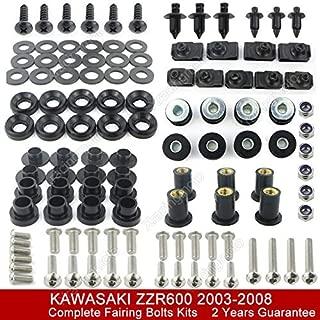 FidgetFidget Stainless Fairing Bolt Bodywork Screws Kit for 2003-2008 Kawasaki ZZR600 2007