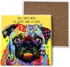 SJT ENTERPRISES, INC. Pug - All You Need is Love and a Dog Absorbent Stone Coasters, 4-inch (4-Pack) Features The Artwork of Dean Russo (SJT07041)