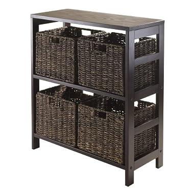 Winsome Granville 5-Piece Storage Shelf with 4-Foldable Baskets, Espresso