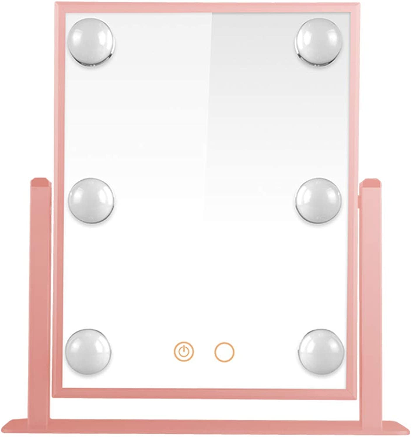 YANZHEN Makeup Mirror LED Bulb Hollywood Touch Screen Anti-Rust Desktop Dressing Ultra-Clear European Style Iron, 3 color 3 Size (color   Pink, Size   31x36cm)