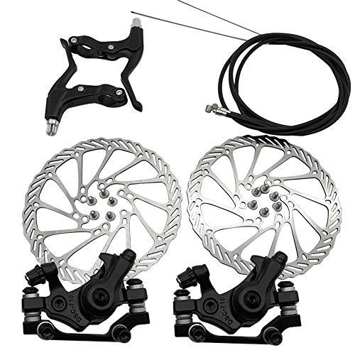 HilMe 2pcs Bike Disc Brake Front Rear Disc,160 mm Rotor Brake Kit,12 Screws,2 Brake Handle,Cable Kit,for Mountain Road Bike Riding Bicycle Parts