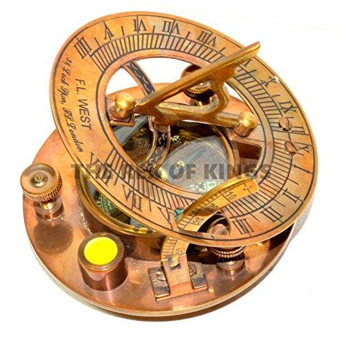 Antik Messing Sonnenuhr Kompass mit Wasserwaage 7,6cm/Messing Nautische Sonnenuhr Sonne Zifferblatt Kompass Sonnenuhr Uhr Sonnenuhr für Verkauf