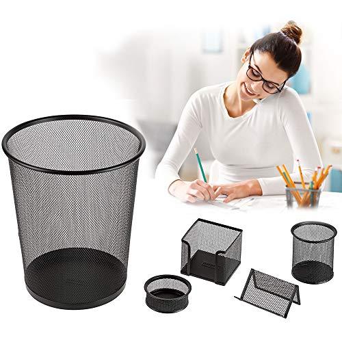 Idena 10516 - bureauset van metaal met prullenbak, pennenkoker, opbergdoos, memohouder en briefbox, 5-delig, zwart