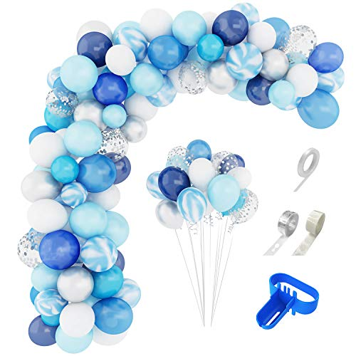 134 Pcs Blue Balloons Garland Arch Kit 12'' 10'' 5'' Navy Royal Blue White Balloons Confetti Pearlescent Latex Silver Metallic Balloons for Boy Birthday Baby Shower Wedding Party Decorations Supplies with Balloon Strip, Tying Tool, Glue Points & Ribbon
