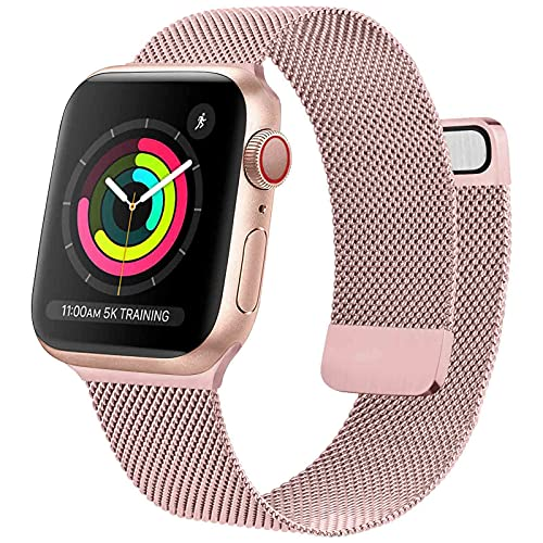 Oumida Cinturino Comapatibile per Apple Watch Cinturino 44mm 42mm 40mm 38mm, Morbido Metallo Cinturini per Apple Watch Iwatch Serie 6 5 4 3 2 1 SE, 2 Calamita Super (38/40mm Rosa)