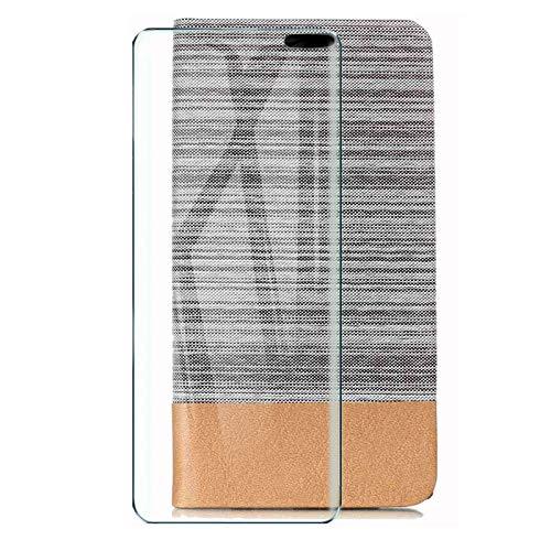 HYMY Hülle für TP-Link Neffos X9 + Schutzfolie - Einfacher Stil Leinwand-Stitching PU Lederhülle Flip mit Card Slot Handyhülle Hülle für TP-Link Neffos X9 (5.99