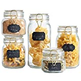 VonShef Set of 5 Clip Top Glass Storage Preserving Jars