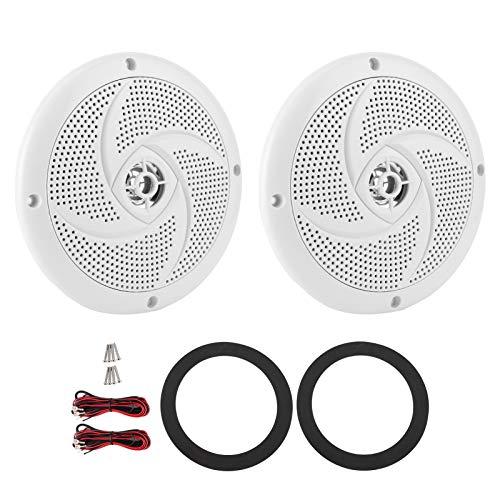Altavoces marinos de 6.5 pulgadas, sistema de sonido estéreo dual de audio al aire libre de 2 vías impermeable y resistente a la intemperie con 60 vatios de potencia - 1 par