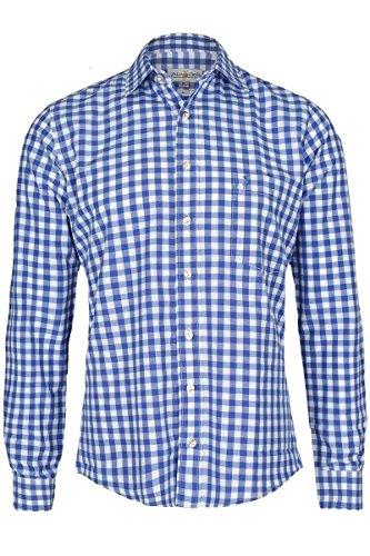 Almsach Herren Trachtenhemd Slim fit karo blau-Weiss Langarm - Der Klassiker für alle Oktoberfeste und Volksfeste, Jeans (blau), M