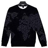 INSTO Suéter Mundo Mapa Impreso Camisa de Entrenamiento Casual Suelto Capucha Unisexo Tendencia Ocio / A2 / S