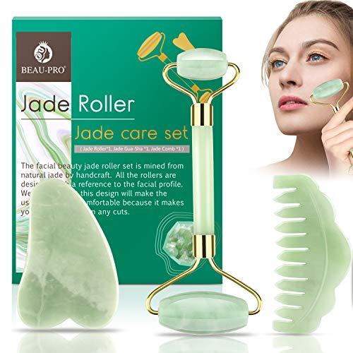 Jade Roller Gesicht Jade Massagegerät Gesichtsmassager, Gesichtsroller Geschenkset mit Gua Sha Jade, 100% Natürliche Massagestein Hautpflege für Anti-Aging, Therapie, Gesicht Auge Hals Hautstraffung