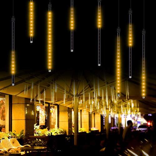 Meteorschauer Regen lichter 50CM, 8 Röhren 288 LED Meteor Shower Lights Lichterkette Außen wasserdicht Lichterkette für Halloween Weihnachten Urlaub Party Zuhause Terrasse Outdoor Dekoration