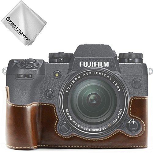 First2savvv Dunkelbraun Gehäusehälfte Präzise Passform PU-Leder Kameratasche Fall Tasche Cover für Fuji Fujifilm X-H1 XH1 - XJPT-XH1-D10G11