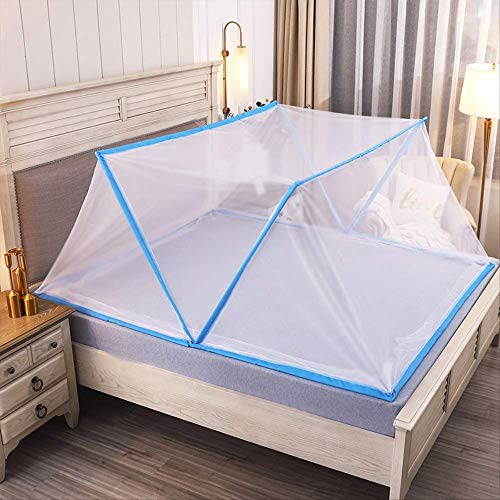 Cubierta Portátil Para Mosquitos Para Adultos Y Camas Para Niños, Mosquitera De Almacenamiento Plegable80 * 190Cm[Cama En Dormitorio] Blanco [Borde Azul]