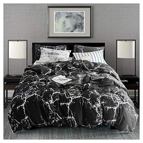 karever Black Marble Duvet Cover Set Queen Boys Cotton Bedding Full Abstract White Texture Printed on Black Comforter Cover Set for Kids Girls Teens