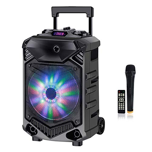 Shinco Bluetooth Karaoke Speaker, 12-inch Subwoofer PA System, Portable Karaoke Machine with Wireless Microphone, Flashing Party Light