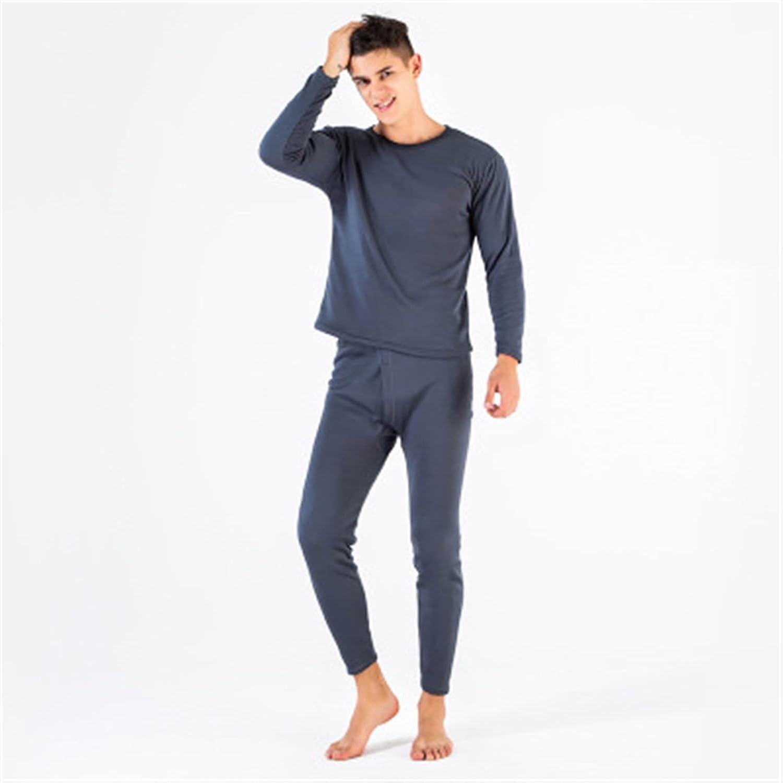 XIAOSEN Lover Thermal Underwear for Women Men Layered Clothing Pajamas (Color : Men Dark Grey, Size : XXL)