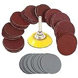 Dischi Abrasivi 100 pezzi Dischi di Carta per Levigatrice 50mm Carta Vetrata Grana da 80/100 /180/240/ 600/800/1000/1500/2000/2500/3000