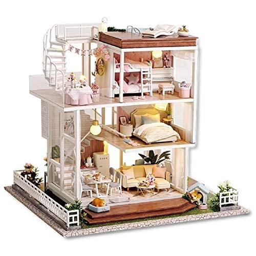 Izzya DIY Puppenhaus Miniatur Kit mit Möbeln, 3D-Holz-Miniaturhaus mit LED-Licht und Musikbewegung, für Kinder Weihnachten Geburtstags Geschenk