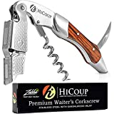 Waiters Corkscrew by HiCoup - Professional Stainless Steel with Sandalwood Inlay All-in-one Corkscrew