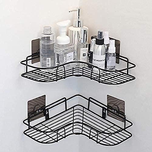 Goscrazy - Mensola angolare adesiva da bagno per doccia, in metallo, montaggio a parete, senza forature, resistente e robusto per bagno e cucina