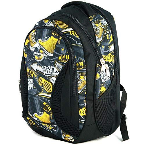 YeepSport Schul Rucksack Ranzen Mädchen Junge Sport Tasche 40 Liter groß leicht stabil 30085 Graffiti Yellow stylez