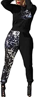 Womens 2 Piece Set Sequin Long Sleeve Sweatshirt and Pant Tracksuit