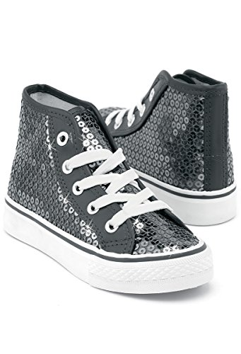 Balera Sequin High Top Dance Sneakers Gunmetal 13CM