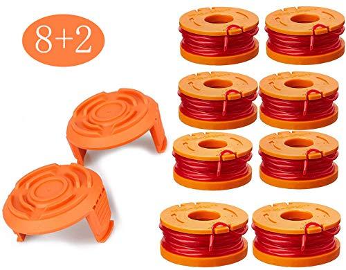 Rasentrimmer Faden für alle Rasentrimmer, Langlebige Ersatzfaden Spulen für verbesserte Schneidgeschwindigkeit - Ø 1,65mm, Schnurlänge 10 Fuß (8x Spule + 2x Kappe)