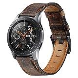 Gear S3 Classic Pulsera, TechCode Ancho 22mm Reemplazo de Correa de Cuero Genuino Vintage con Hebilla de Metal Negro para Samsung Galaxy Watch 3 45mm/ Reloj 46mm/ Gear S3 (C07)
