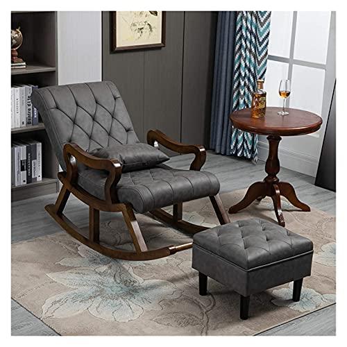 DGDF sedia a dondolo in legno massiccio stile cinese, comoda tecnologia panno vecchio, poltrona reclinabile con poggiapiedi 125 x 67 x 89 cm