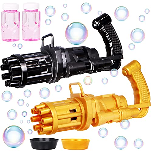JOYIN 2 Pack Gatling Bubble Gun with 2 Bubble Solution, 8-Hole Automatic Bubble Machine Gun- 2021 Latest Summer Outdoor Toys for Toddlers Kids - Party Favors for Boys Girls (Small, Black & Gold)