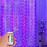 Luces de la secuencia de la cortina 300 LED, ONEVER Ventana remota Luz de la secuencia de la cortina USB Powered Wedding Party Hogar Jardín Dormitorio Decoraciones de pared