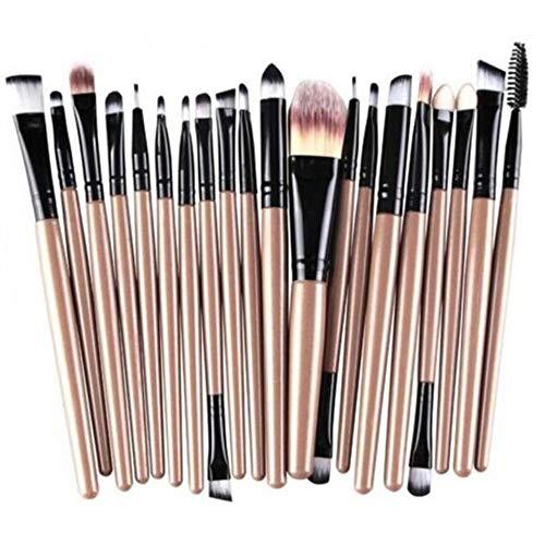 WINJIN Ensemble de Pinceaux maquillage professionnel manche en bois Poils Synthétiques Doux Cosmetic Brushes Maquillage Brosses Personnalisation avancée 15PCS/20PCS + 2 Coton nettoyant