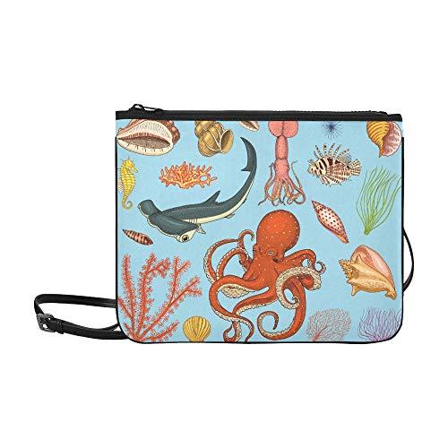 JEOLVP Fische Set Sea Creature Nautilus Pompilius Pattern Benutzerdefinierte hochwertige Nylon Slim Clutch Bag Cross-Body Bag Umhängetasche