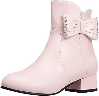 ELEEMEE Women Block Heel Ankle Boots Zip