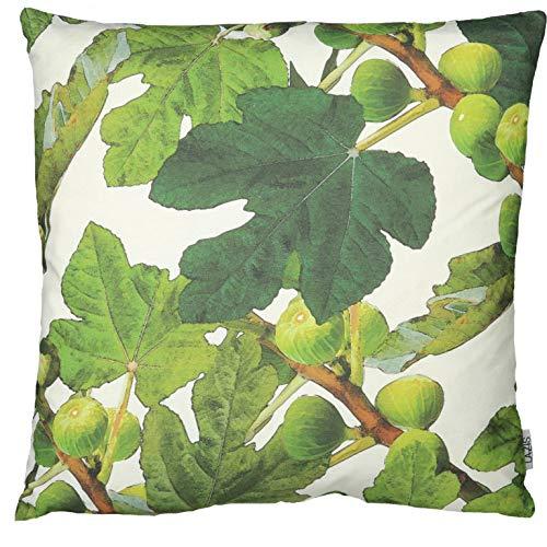 Lazis | FIGUES Deko Kissen 50x50 cm Kissenhülle Kissenbezug Sommer | Weiß Grün Braun | Floral Baum Natur | ohne Füllung | waschbar | Sofadeko Sommerdeko