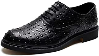 XinQuan Wang Party Oxford for Men Fashion Dress Shoes Lace up Microfiber Leather Rubber Sole Round Toe Anti-Slip Rivet Studded Block Heel (Color : Black, Size : 6.5 UK)