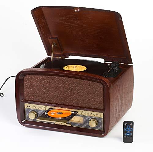 Camry CR1112 Radio und Schallplattenspieler mit CD, MP3, USB, Aufnahmefunktion Braun