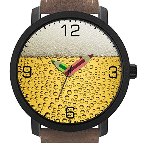 Geschenk für Erwachsene | Kinder | Geburtstag | Stilvolle niedliche Armbanduhr mit Bleistift Form Pointer Ornament Geschenk 038.Bierglas mit Zahlen