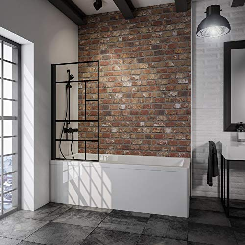 Schulte 80 x 140 cm Mampara ducha para bañera, 1 hoja plegable, perfil negro y cristal decorativo, D1650-F 68 166