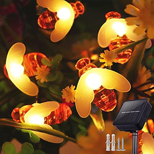 Cadena de luces LED solares, 9 m, 60 ledes, blanco cálido, exterior, IP65, impermeable, decoración de iluminación (blanco cálido)