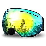 WOTEK Gafas de esquí, Antivaho, Lentes Dobles protección UV, Gafas a Prueba de Viento para Deportes de Invierno, esquí, Patinaje, portadores de Gafas, Gafas Esquí Snowboard para Mujer Hombres(Oro)
