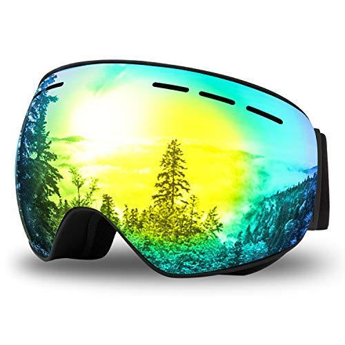 Maschera da Sci OTG Occhiali da Sci per Adulti Antiappannamento e Antivento|Protezione UV400|Specchio Sferico a Doppio Strato,per Sci,Pattinaggio Su ghiaccio,Motocross,Paracadutismo-Uomini e Donne