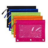 Binder Pencil Pouch with Zipper Pulls, Pencil Case with Rivet Enforced 3 Ring, 5 Pack
