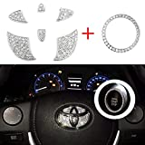 Vichona Bling Steering Wheel Stickers Rhinestones Car Accessories Fashion Car Interior Accessories Compatible with Toyota Accessories Markx Camry Highlander Corolla Rav4 Avalon 2015-2020