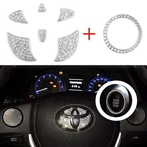Vichona Bling Steering Wheel Stickers Rhinestones Car Accessories Fashion Car Interior Accessories Compatible with Toyota Accessories Markx Camry Highlander Corolla Rav4 Avalon
