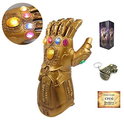CYCG Thanos Handschuh, Thanos Infinity Gauntlet mit 6 LED Energy Stones Latex Handschuhe f¨¹r Erwachsene, Film Replik Merchandise Zubeh?r f¨¹r Halloween Party Cosplay Kost¨¹m