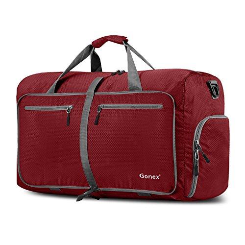 Gonex 60L Borsa da Viaggio Borsoni Pieghevole Impermeabile per Viaggio Sport Palestra Campeggio Bagaglio a Mano Tracolla con Grande Capacità di 60 Litri (Rosso)
